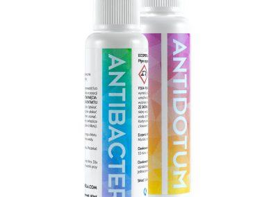 Liquid Antibacter and granulated Antidotum